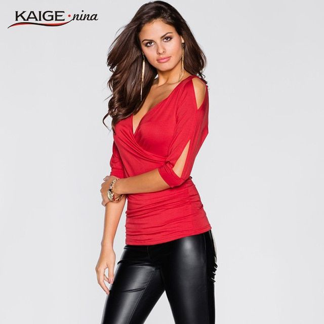 KaigeNina New Fashion Hot Sale Women Jersey V-Neck Sexy Sleeve Shirt Solid Lady Blouse 1183a