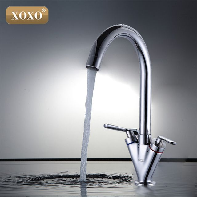 XOXO Hot sell Double handle kitchen sink tap,kitchen mixer,round swivel Kitchen Faucets 83032