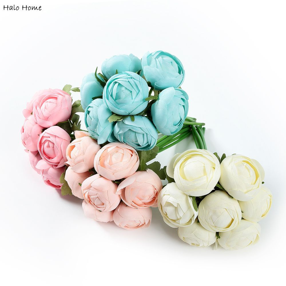 1 Bunch Artificial Flower Silk Ranunculus Bouquet fit Decoration Party Home Garden Wedding Perception of reality Top Quality