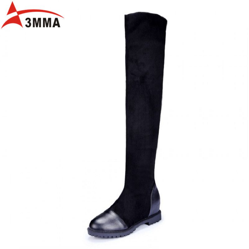 AIMA Round Toe Square Heels Women's Boots Flock Nubuck Fashion Winter Boots Med Heel Black Over The Knee Boots Big Size 34-43