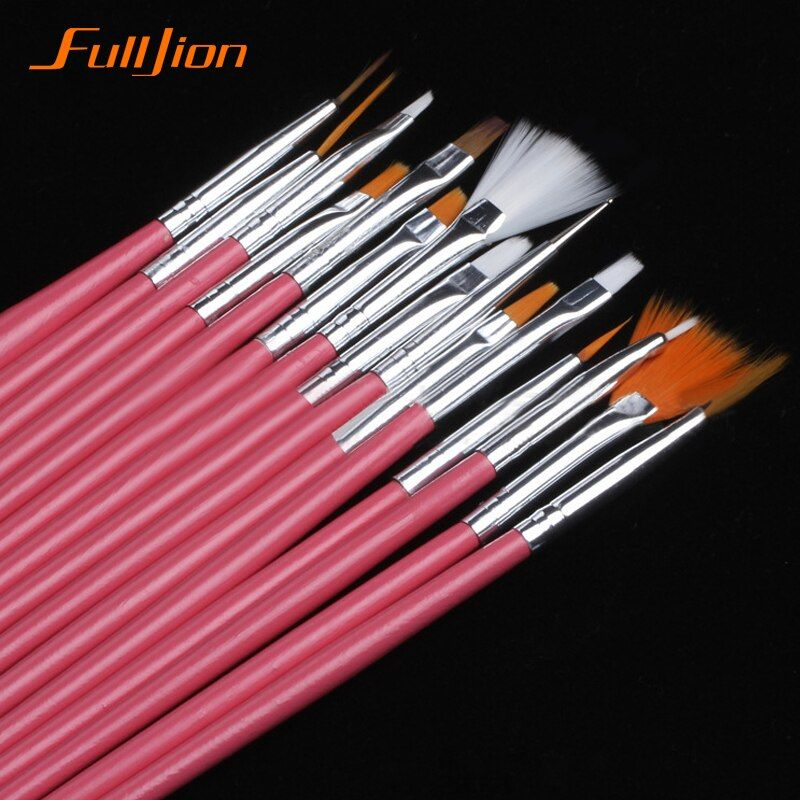Fulljion 15/7pcs /set Nail Art Polish Painting Draw Pen Brushes Tips Tools Set UV Gel Cosmetic Nail Tools Nail Brush Nail Makeup