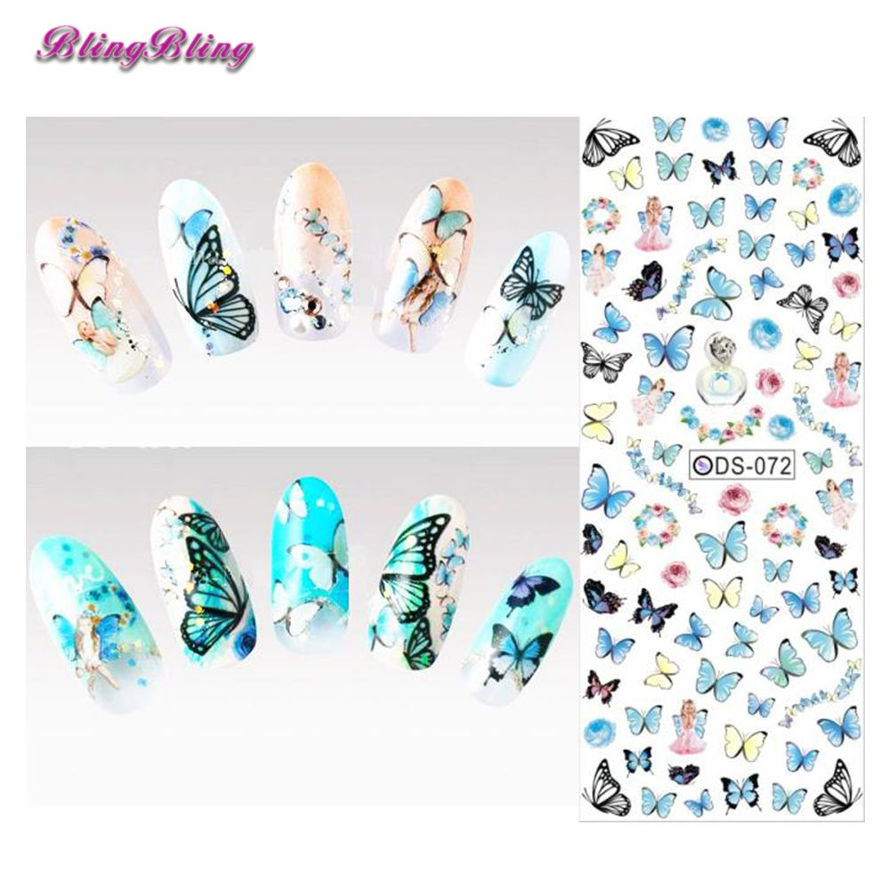 2 sheet DIY Nail Water Decals Blue Butterfly Nail Art Sticker Tattoo Decals Water Slide