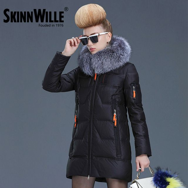 SKINNWILLE  Ms 2017 winter long down jacket with fur collar thick down jacket