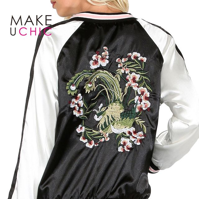 MAKEUCHIC Apparel Color Block Women Jacket Coat Casual Floral Embroidery Loose Female Bomber Jacket Streetwear Tops For Ladies