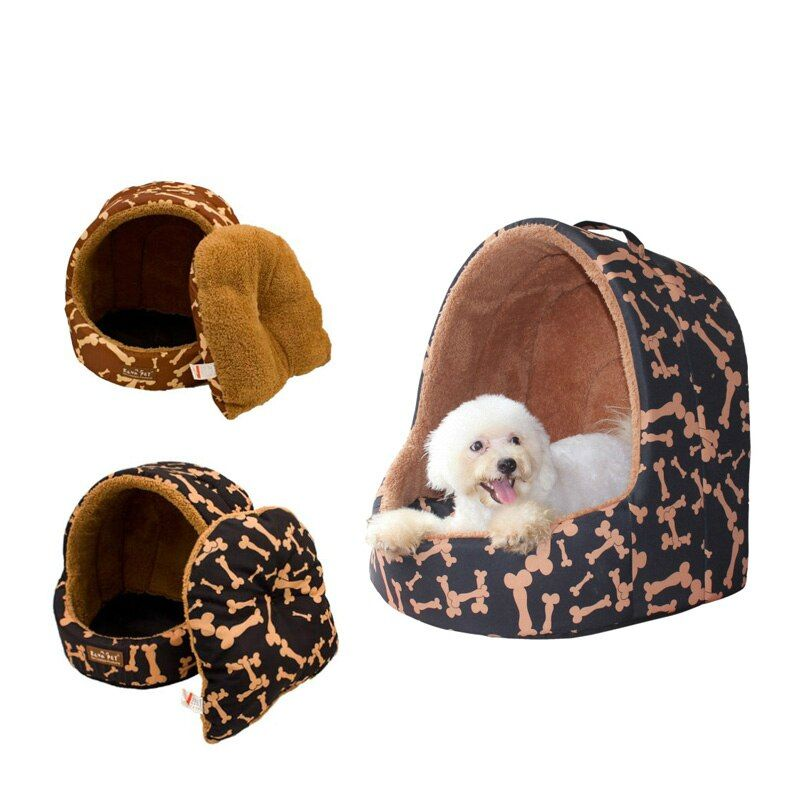 High Quality Pet Cat House Portable Soft Comfortable All season Leopard Dog Bed Dog House Cute Kennel Nest Dog Cat Bed