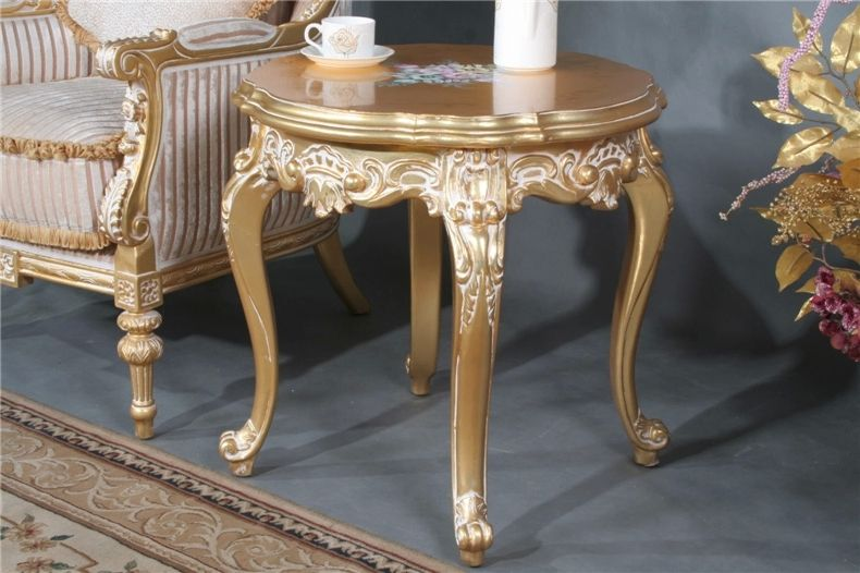 European And American Style Hand-carved Furniture  Custom Solid Wood Exports Gild Casual Coffee Round Table Small Coffee Table