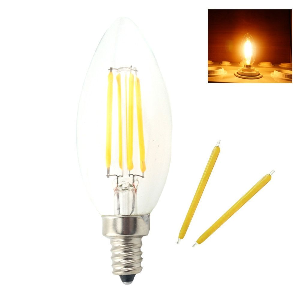 Dimmable E14 LED Lamp Filament Glass Housing Cob Corn Bulb 220V 4W 6W Light Retro  Candle CTungstenhandelier Lighting Warm White