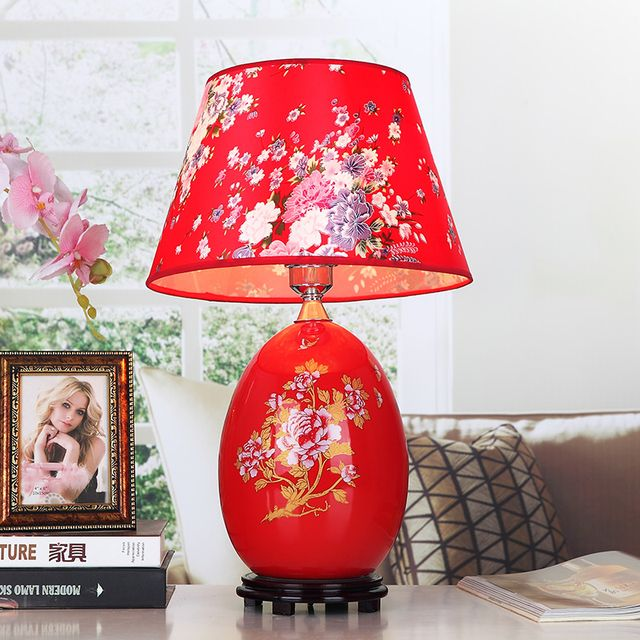 Red Chinese Porcelain Table Lamps Fabric Lampshade Wood Base Room/Living Room Lighting Ceramic Desk Lights Wedding Gift,TLL-425