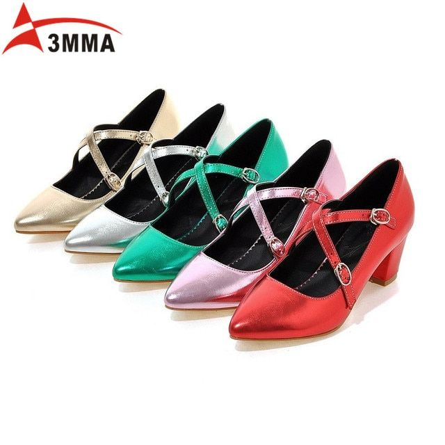 3MMA Mary Janes Buckle Strap Women Spring Shoes Pointed Toe Square Heels Patent Leather Shoes Chunky Heel Pumps Big Size 34-43