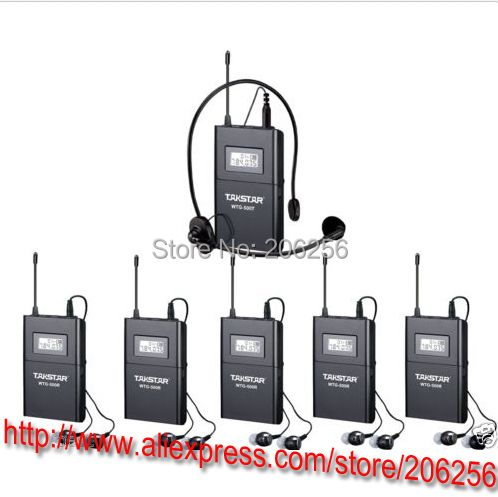 Boutique Transmitter+ 5 Receiver+MIC+earphone Takstar WTG-500 UHF PLL Wireless tour guide system voice device teaching earphones