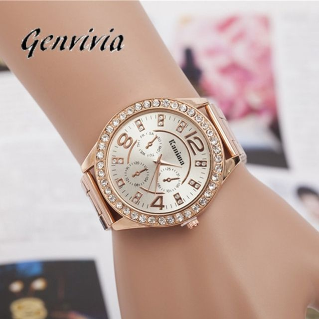 GENVIVIA relojes mujer dorados diamond bracelet watches for women silver gold rose gold bling lady watch montre femme stainless