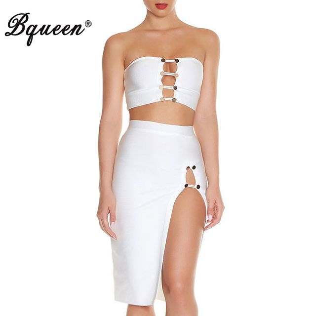 Bqueen 2017 New Fashion Button Hollow Out 2 Piece Sets Strapless Bandage Dress Sexy Solid White
