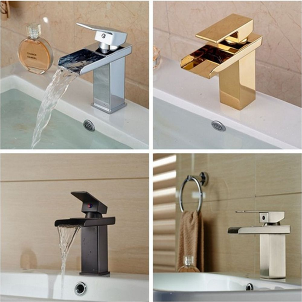 Modern US Free Shipping Solid Brass Waterfall Spout Bathroom Basin Faucet Hot Cold Mixer Tap Vanity Sink Mixer Tap