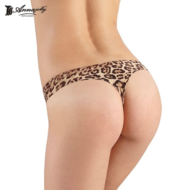 Annajolly New Fashion Hot Sale Women Intimates Sexy Leopard Panties ropa interior mujer Female Low Rise Soft String Thong 8412