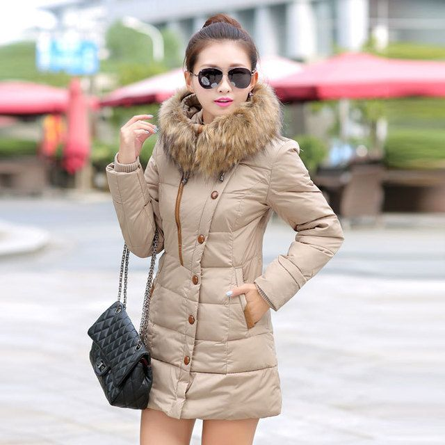 2016 womenjacket and parks cotton long section padded jacket Korean version of loose big yards women's winter fur collar coat