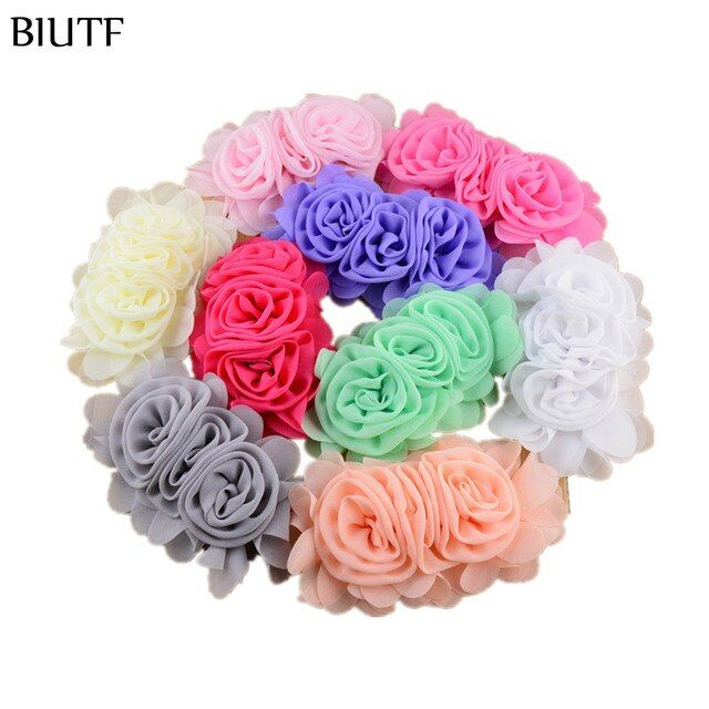100pcs/lot 14cm*8.0cm DIY Chiffon Flower Three Rosette Flower Lined for girl Headband Summer Dress Decoration 22 Colors TH203