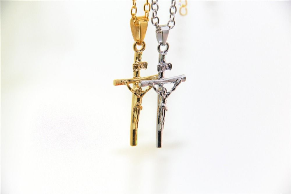 Fashion Jewelry Jesus Cross Necklace INRI Pendant For Women/Men Fashion Religious Jewelry Crucifix Necklace