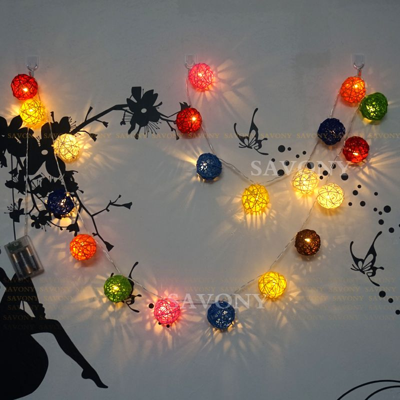 4m Colorful Rattan Balls Battery Powered LED String Lights Sepak Takraw for Christmas Tree Wedding Party Living Room Decoration