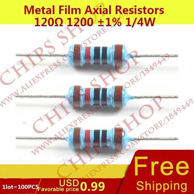 1LOT=100PCS Metal Film Axial Resistors 120ohm 1200 1% 1/4W 0.25W Wattage1/4W resistor assorted