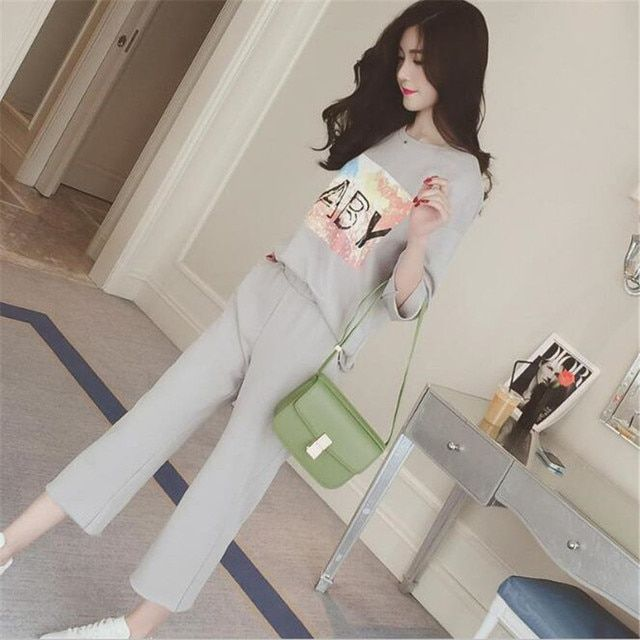two piece set 2016 new fashion Leisure time printing Straight 7 points pants 2 piece set women harajuku shorts t shirt women
