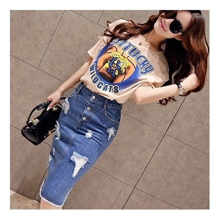 Europe Style 2017 Summer New Women's Two Piece Short Sleeved Crop Top and Denim Skirt Set Fashion Suit Female 1183#