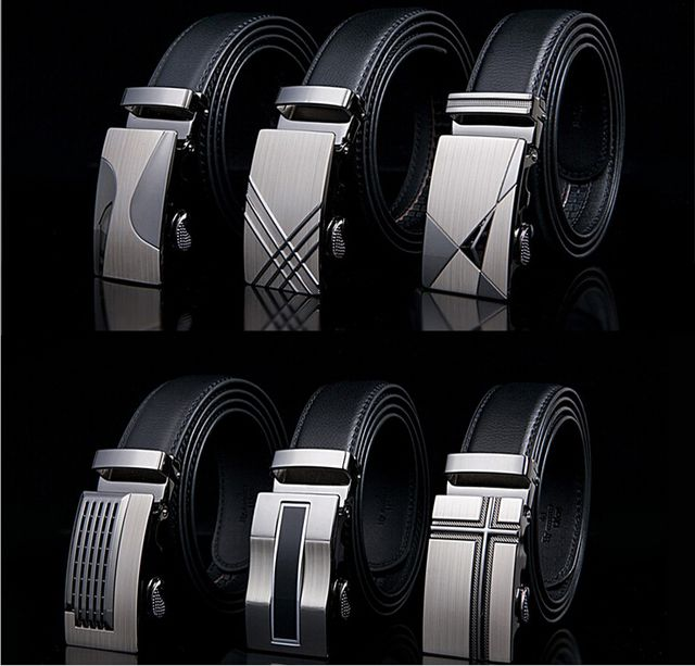 New Brand Belt Men Luxury Cowhide Leather Men's Belts for Men, Strap Male Gold & Silver Metal Automatic Buckle, Cinto Masculino