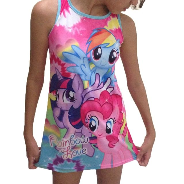 2016 new summer girls clothing my little pony sleeveless girl dress roupas infantis menina ropa de ninas vestido infantil