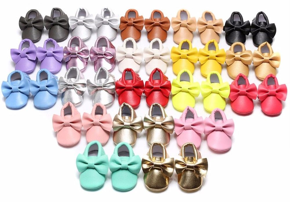 New Muticolor Candy color Bow Pu leather infant dress sneakers Baby moccasins soft sole Summer sandals Baby shoes Free shipping