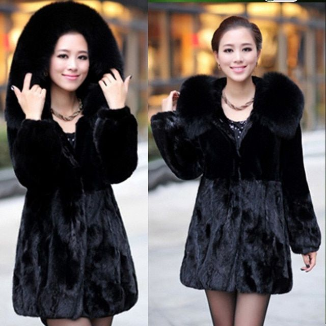Women's Faux Fur Coat Fox Fur Collar Medium-long Hooded Thicken Fur Coats Overcoat