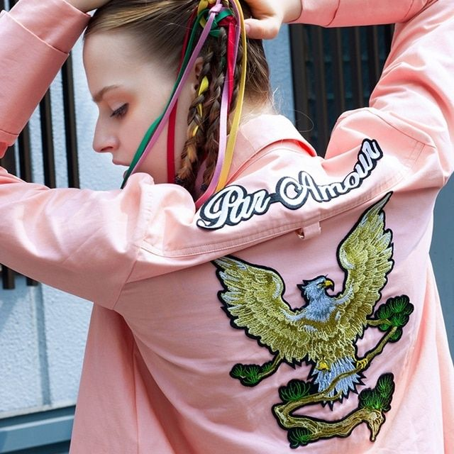 STH438 New Arrival Autumn 2016 streetwear casual eagle embroidered long sleeve pink shirt women