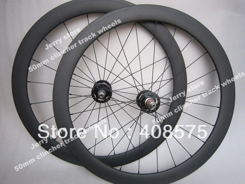 full carbon 50mm clincher track bike wheels 700C road bicycle fixed gear wheelset