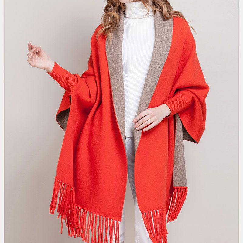 Lady Long Sleeve Tassel Cardigan Women Slim Spring Autumn wool Poncho women Cardigan