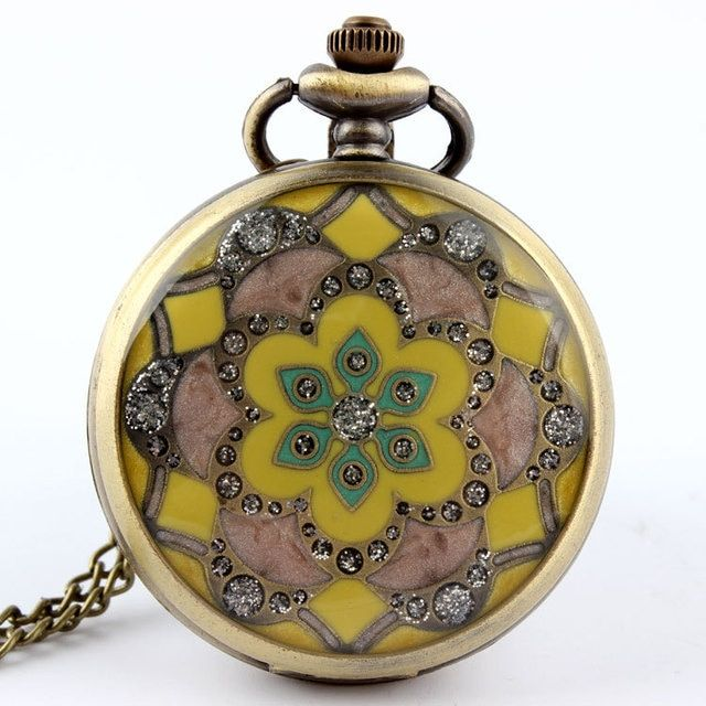 Yellow Jade Crystal Quartz Big Round Pocket Watch Necklace Pendant Chain Men Vintage Gift