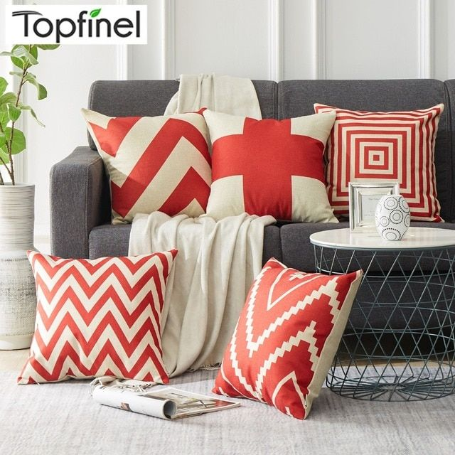 Topfinel Chevron Red Geometry Decorative Throw Pillows Case Linen for Sofa Car Cotton Cushion Cover Creative Decoration 45X45cm
