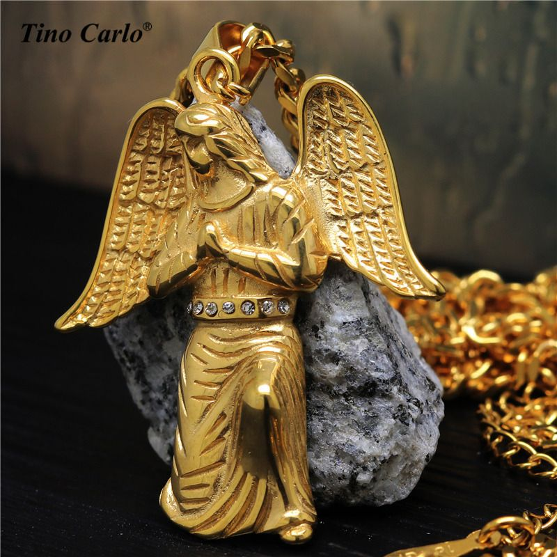 Tino Carlo Women's 3D Wings Jesus Necklace S.Steel  Man's Jesus Figure Pendant Necklace Man's HIPHOP Cool Gift 70CM JF1205