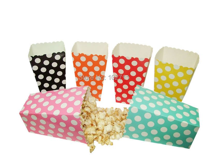 Cheapest 48 Popcorn box colorful chevron stripes dot Gold Gift Box Party Favour Wedding Pop corn kid party decoration bags loot