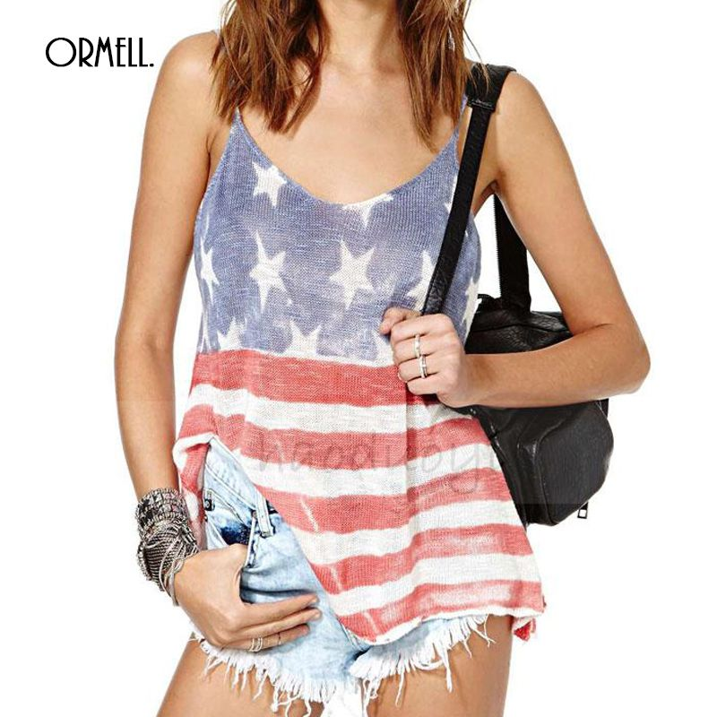 ORMELL Summer Style Top 2016 New Arrival Camisoles For Women Casual Tops America Flag Printed V Neck Spaghetti Strap Camisole