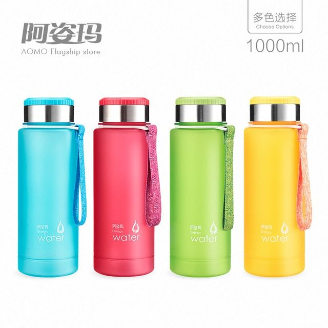 TT03 New 1L-1.2LLemon  Water Bottle Drink More Water Drinking Bottle Colorful Frosted Plastic Lemon Fruit  hot sale