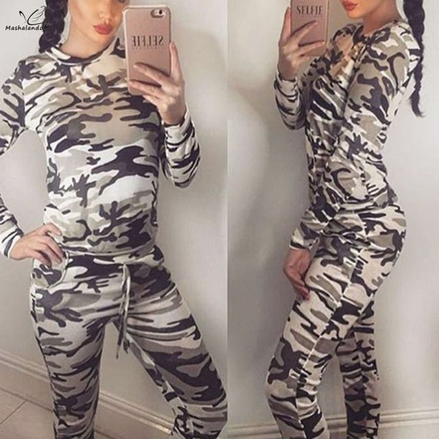 2016 fashion Suit Women Tracksuit Camoflage Hoodies and Pants 2 Pieces Set Ladies Military sweat suit