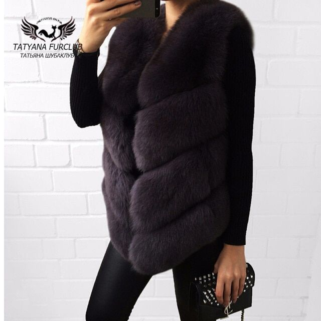 Tatyana Furclub 100% Real Natural Fur Vest,Luxury Women Winter Fashion Fur Furry vest,Fox Fur Vest Coat Female,Fur Coat Vest