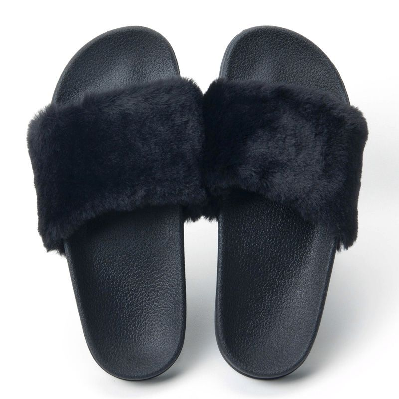 Fur Slides Slippers Flip Flops Shoes Womens Platform Slik Bow Slides Beach Sandals Zapatos flats thick bottom outdoor Slippers