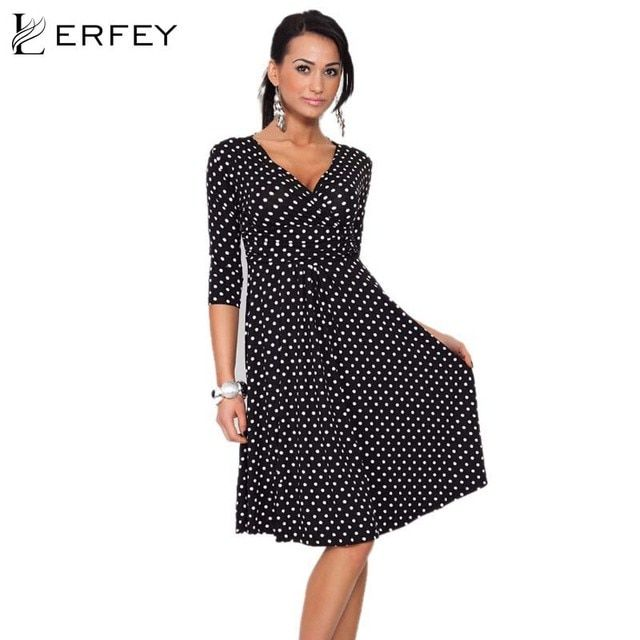 LERFEY S-2XL Women Dot Dress Summer Vintage Retro Dresses Deep V Neck half Sleeve Sexy Office Dress Vestidos  Femininos