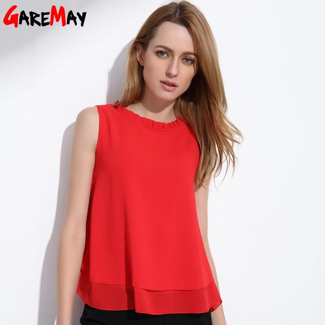 GAREMAY Women Summer Tops Sleeveless Feminine Blouses Plus Size Loose Ruffle White Shirt Fashion Chiffon Blouse For Women 001A