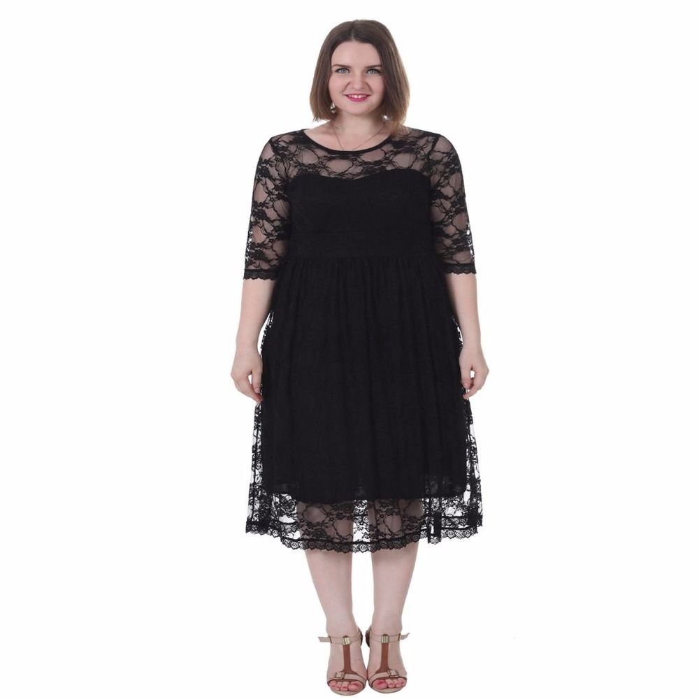 FEIBUSHI Plus Size Lace Dress Women Elegant Lace Floral Empire Waist Fit and Flare Casual Party Dress Vestidos   1X-5X