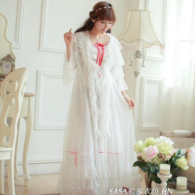 Special Offer Free Shipping Long White Nightgown ladies Robe Royal Pijamas Women's Sleepwear Two Pieces Set Nightshirt Sa16003