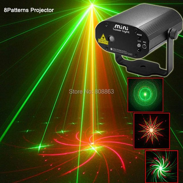 New MINI R&G Remote 8 Big patterns Laser projector Stage Lighting Disco Dance Home Birthday Party DJ Light Show system c8