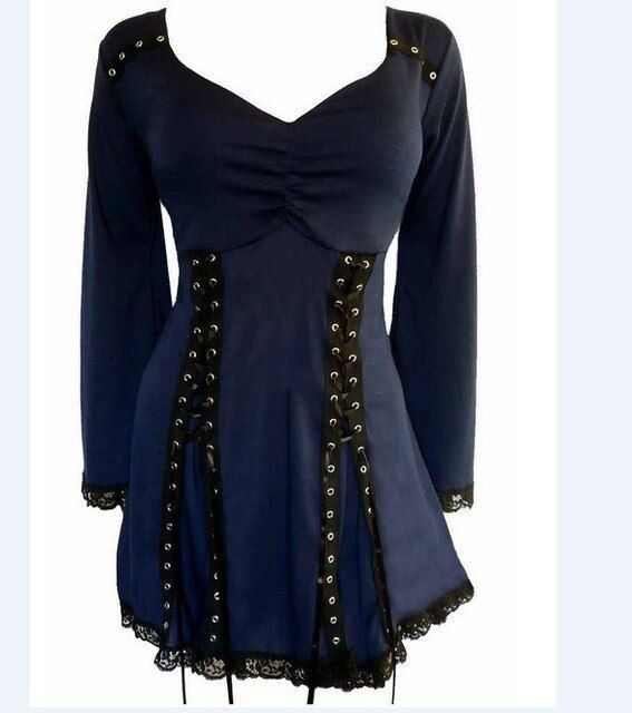 Gothic Victorian Boho Women's Plus Size Electra Corset Top In Midnight / Blue With Black Lace cheap clothes china