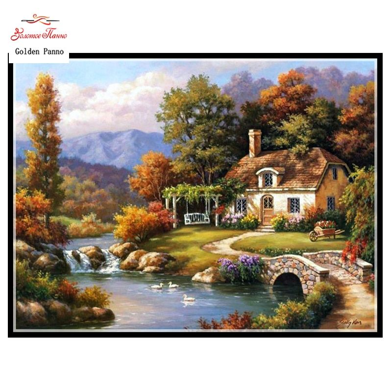 Golden panno,Full,DIY Diamond Embroidery,5D,Diamond Painting,Cross Stitch,3D,Diamond,Mosaic,Needlework,wall decor, Mountain