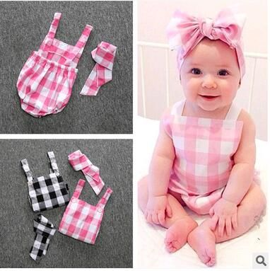 Girls Clothes set Baby Rompers Headband Cotton Summer plaid Baby Wear Infant Jumpsuit Boys Roupas De  Infantil
