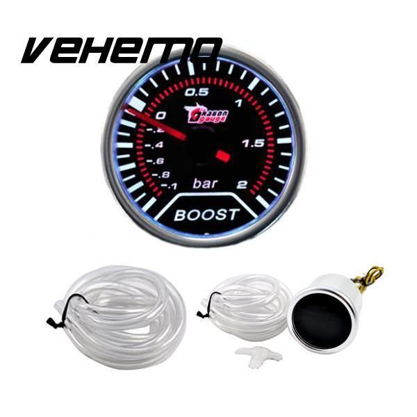 "Vehemo Pointer 2"" 52mm Car Cars Auto Universal LED Turbo Boost Gauge Lens Indicator Smoke Tinted Meter Hot"